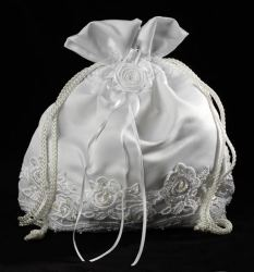 Satin and Lace Drawstring Purse